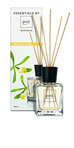ipuro Essentials Raumduft pure vanilla - Raumduft für ein köstlich gutes Raumklima - Lufterfrischer mit hochwertigen Inhaltsstoffen (200ml)- aus Glas mit Rattanstäbchen
