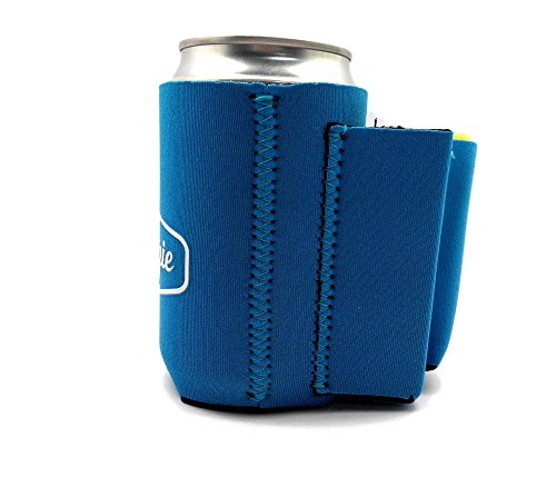 Beer Can Chuggie With Two Pockets - Holds Cigarette And Lighter, Phone, Keys, 3mm Neoprene (Blue, 1 Pack)