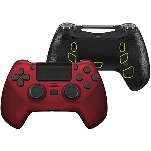 eXtremeRate Scarlet Red Decade Tournament Controller (DTC) Upgrade Kit for PS4 Controller JDM-040/050/055, Upgrade Board & Ergonomic Shell & Back Buttons & Trigger Stops - Controller NOT Included