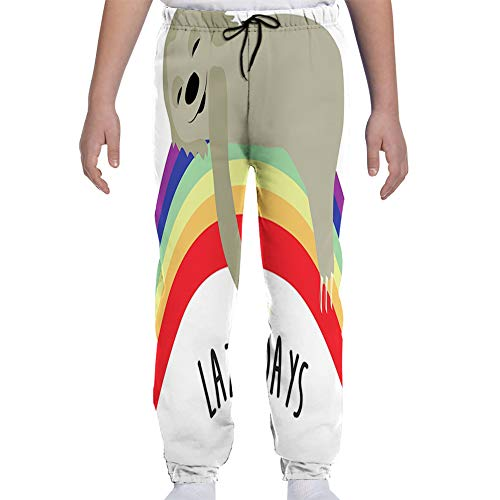 Youth Joggers Sweatpants,Lazy Days Phrase with Carefree Sloth Figure on Rainbow Happiness Relaxation Theme,M