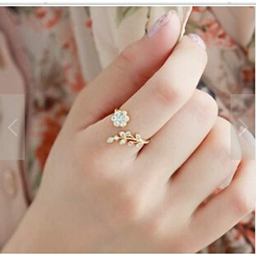 CTDMMJ Anillos de Dedo Midi retorcidos Hojas de Diamantes de imitación Anillo de Apertura de ilusión Flor Accesorios de Mujer Anillo