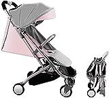 Cochecito de bebé recién nacido liviano Viaje por silla para niños pequeños, cochecito de cochecito plegable compacto con luz de nacimiento a 25 kg (Color : Pink)