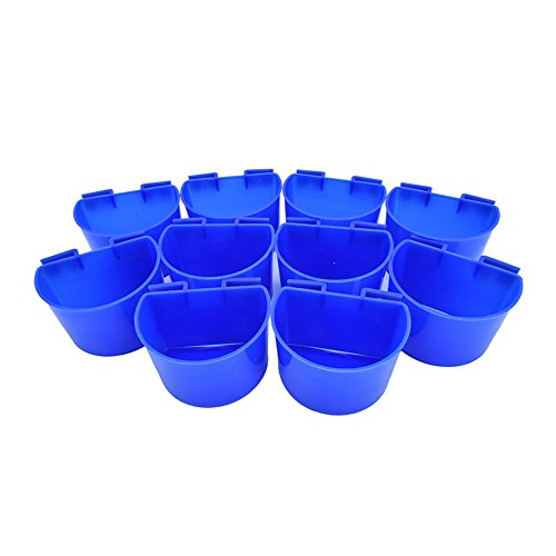 Ocamo 10 pcs Bird Feed Cage Cup Hanging Water Cups for Poultry Gamefowl Rabbit Chicken Pigeons 10pcs