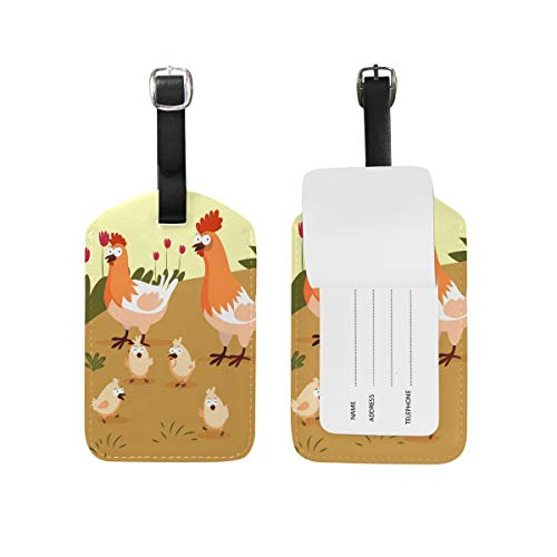 Eslifey Little Chicks and Hens PU Leather Suitcase Labels Tag Luggage Tags Privacy Cover for Travel Bag