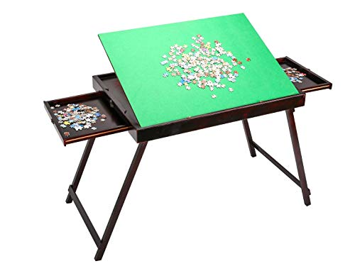 Wooden Jigsaw Puzzle Table with Storage, Portable Folding Table for Puzzle Games with 2 Drawers for 1500 Pieces Puzzles,Best Birthday for Puzzle Enthusiast for Adults and Kids