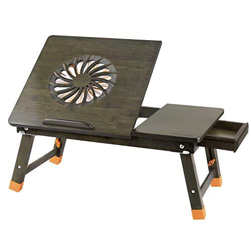 Nnewvante Laptop-Schreibtisch Verstellbarer Laptop-Schreibtisch Tisch aus 100% Bambus mit USB-Ventilator Faltbarer Frühstücks-Serviertisch mit Schublade-Bronze