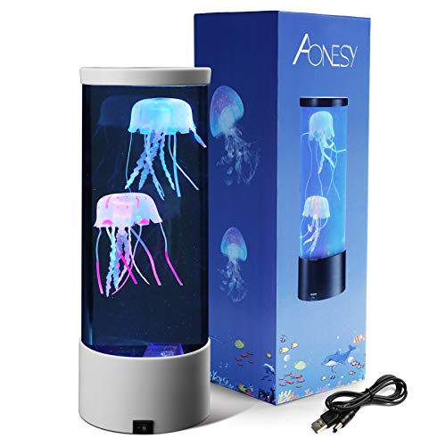 Jellyfish Lamp with Color Changing Lights-Artificial Mini Aquarium Night Light Romantic Gifts for Kids Men Women Dad Mom-Home Office Room Desk Decor Lamp for Christmas Birthday