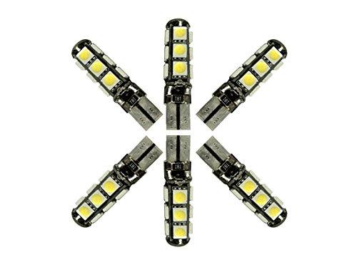 Njytouch 6 pcs Nature Blanc 13smd 5050 T10 194 168 W5 W 192 168 avec CANBUS Wedge ampoules de voiture Tail Light DC 12 V