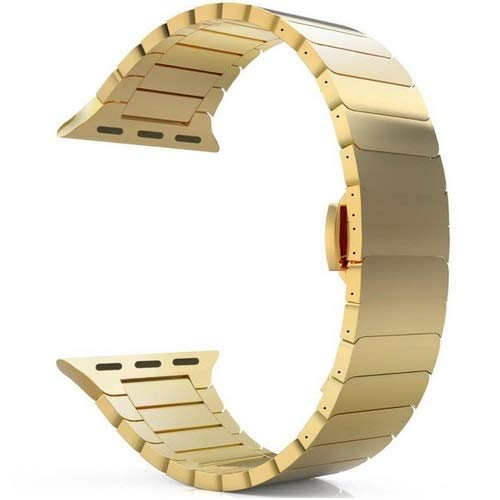 Watch Strap for Series 6/5/4/3/2/1/SE Strap for Watch Band 44mm 42mm Band 40mm 38mm Metal Bracelet Butterfly Buckle Watchband 1 (Band Color : A Gold)