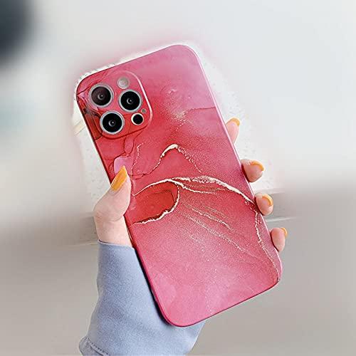 Funda de teléfono de mármol para iPhone 11 Pro MAX X XR XS MAX 12 Mini 7 8 Plus Cubierta Trasera de protección de cámara, T9, para iPhone 11Pro MAX