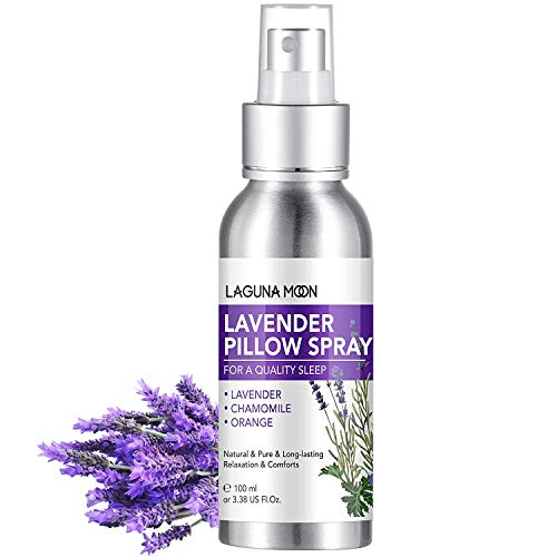Lagunamoon Lavender Pillow Spray, Calming and Relaxing Pillow Mist Sleep Spray with Pure & Natural Lavender Oil, Sweet Orange Peel Oil and Chamomile Flower Oil, 100ml/3.38oz