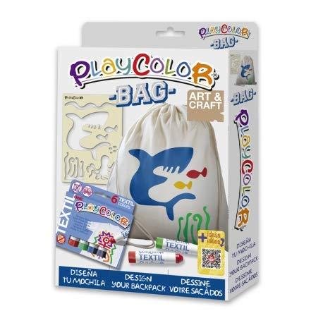 2-in-1 pak met 1 rugzak + 1 sjabloon + Playcolor textiel One – 6 schildersticks voor textiel – 11491