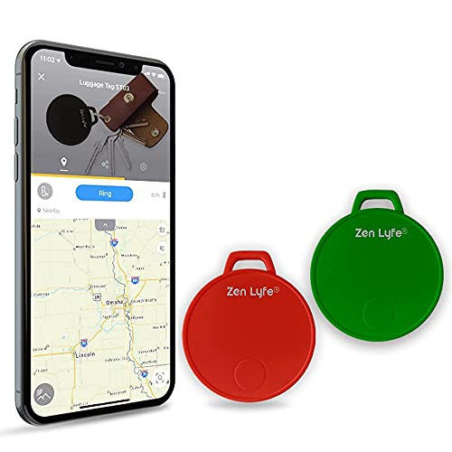 SwiftFinder Key Finder 2 PCS Locator Tracking Tracker Devices Smart Key Tracker Bluetooth Tracker Car Key Luggage Wallet Finder with app for iPhone Sumsung Galaxy Best Key Finder Locator Red+Green