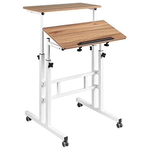 Hadulcet Adjustable Standing Desk, Mobile Standing Desk, Laptop Cart on Wheels, Rolling Computer Cart for Home Office, Rolling Table for Stand Up, Vintage Oak …