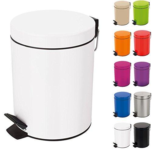 Spirella Kosmetikeimer Sydney Weiss Mülleimer Treteimer Abfalleimer - 3 Liter – mit herausnehmbaren Inneneimer
