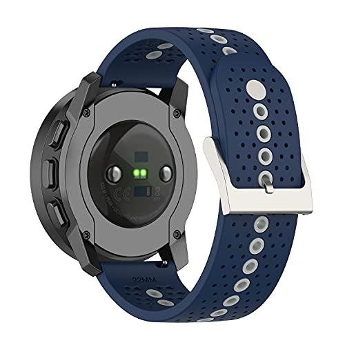 BoLuo 22mm Correa para Suunto 9 Speak,Bandas Correa Repuesto,Silicona Reloj Recambio Brazalete Correa Repuesto para Huawei Watch GT2 Pro/Watch GT 42mm/46mm/Huawei Watch 3/Watch 3 Pro Watch (azul)