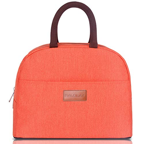 BALORAY Lunch Bag Tote Bag Lunch Organizer Lunch Holder Insulated Lunch Cooler Bag for Women/Wen (Orange)