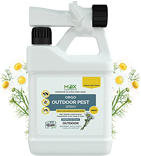 mdxconcepts Ready-to-Use Outdoor Pest Control Spray with Natural Essential Oils - Mosquito and Insect Repellent, Treatment, and Killer - Plant-Based - Safe for Pets, Plants, Kids - 64 oz