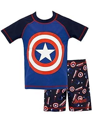 Marvel Boys' Captain America Two Piece Swim Set Size 5 Blue, Blue, Size 5