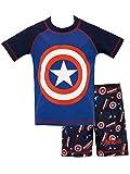 Marvel Captain America - Bañador de dos piezas, camiseta con manga corta y pantalones cortos elásticos para niño [5-6 años] [azul]