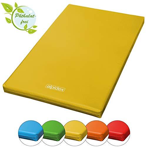 ALPIDEX Matte Turnmatte Sportmatte Gymnastikmatte 200 x 120 x 8 cm mit Antirutschboden RG 20 (sehr weich), Farbe:gelb