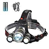 LED Headlamp, SmilingShark High Lumen Bright Headlight, Rechargeable Waterproof Work Light, Head Lights for Camping, Hiking, Outdoors