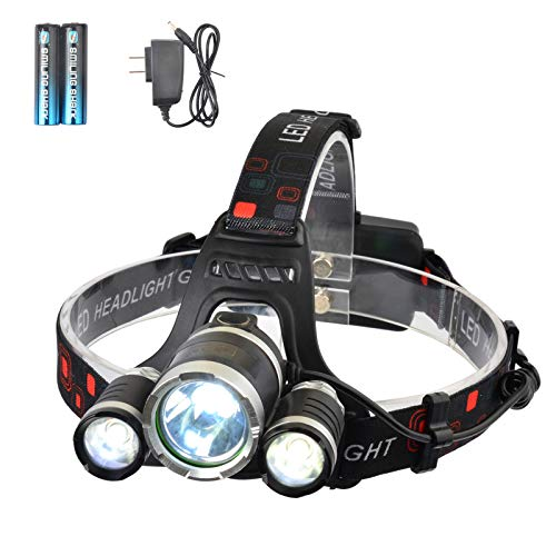 LED Headlamp, SmilingShark High Lumen Bright Headlight, Rechargeable Waterproof Work Light, Head Lights for Camping, Hiking, Outdoors