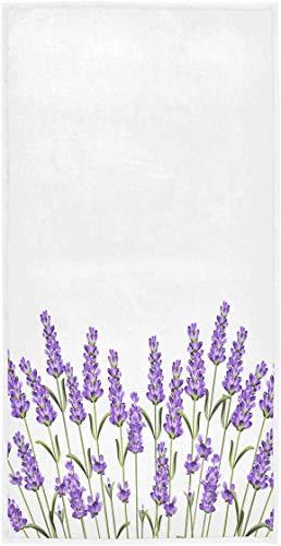 OMAJIG hermosas flores de lavanda moradas suaves muy absorbentes para el hogar, toallas de mano decorativas multiusos para baño, hotel, gimnasio y spa (15 x 76 cm), color blanco