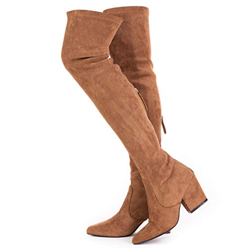 Women Boots Winter over knee Long Boots Fashion Boots Heels Autumn Quality Suede Comfort Square Heels USA Size (9, Brown)