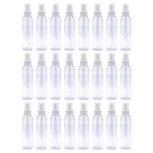 Trendbox 4oz Fine Mist Clear Spray Bottles with Pump Spray Cap 24 Pack BPA-Free Travel Containers For Essential Oils, Facial Spray, Hair Spray, Perfumes and any other liquid