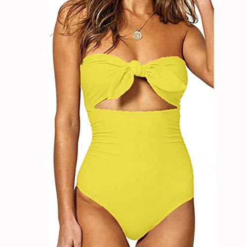 QWJYREMN Traje De Baño De Una Pieza Mujer Traje De Baño Amarillo De Secado Rápido De Poliéster para Mujer Conjuntos De Una Pieza para Mujer Tallas Grandes Ropa De Playa Traje De Baño Bikini Traj
