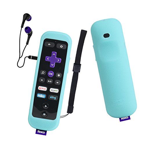 Roku Gaming Remote Case SIKAI Shockproof Protective Case for Roku 3 (4230 and 4200) Roku 2 (4210) RC54R Enhanced Remote Anti-Slip Washable Dust-Proof Anti-Lost with Hand Strap (Glow in Dark Blue)