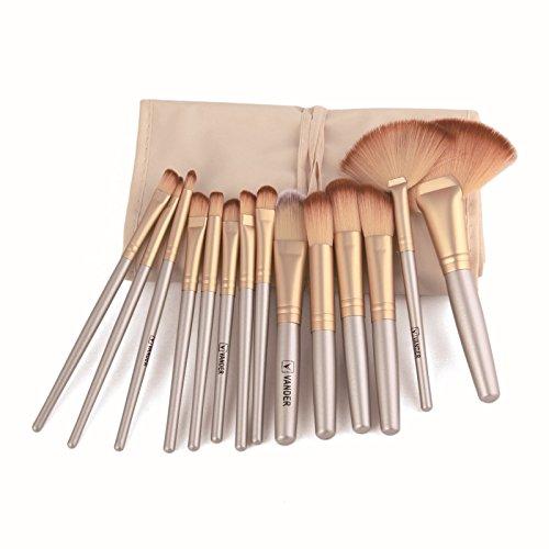 WINJIN Brosse de maquillage 32pcs Professional doux Cosmetic Sourcils Ombre Kit Brush Set de pinceaux de maquillage Végan Professional/brosse de maquillage et brosse d'eye-liner + sac de cosmétique