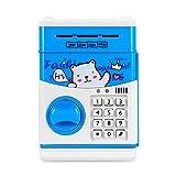 Winbang Hucha, Caja de Dinero de Gran Capacidad Detección automática de Billetes Banco ATM con contraseña reiniciable para niños (Azul)