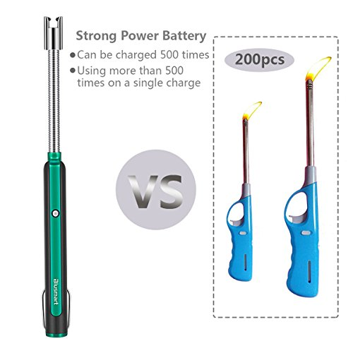 Lighter, Electric Arc Lighter, Blusmart USB Rechargeable Flameless Electronic Lighters Windproof Safety ON/Off & 360°Flexible Long Neck Lighter for Candles BBQ Fireworks Camping, No Spark & Smell