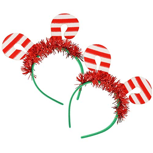 FRCOLOR 2Pcs Navidad Bastón de Caramelo Diadema Glitter Tinsel Bandas para El Cabello Head Bopper Hoop Tocado Sombrero para Fiesta de Navidad Favor Suppleis Rojo Blanco
