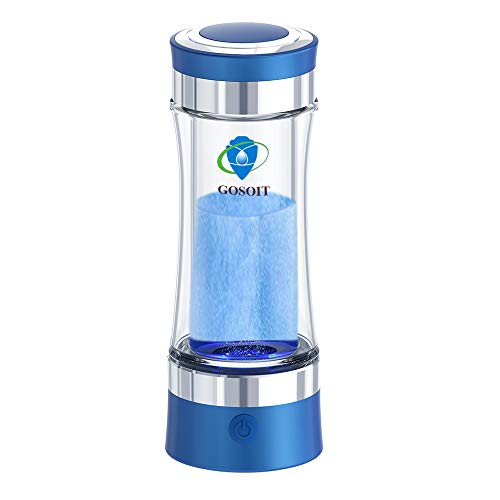 GOSOIT Hydrogen Alkaline Water Bottle Maker Machine Hydrogen Water Generator Ionizer with SPE and PEM Technology,US Membrane Make Hydrogen Content up to 800-1200 PPB (blue)