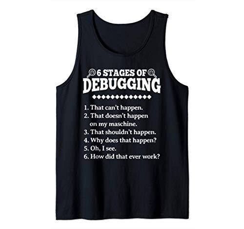 6 etapas de la depuración de la programación divertida Camiseta sin Mangas