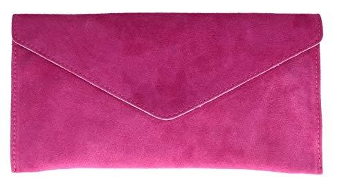 Girly Handbags Mujer Cuero de Gamuza Envelope Clutch Pulsera Piel Auténtica Rígido Bolso bandolera Fuchsia