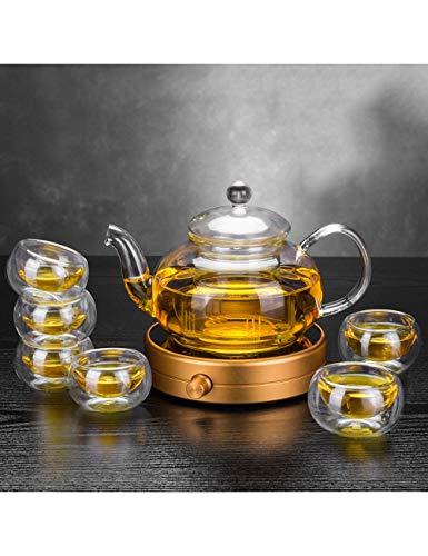 Tetera de cristal Tetera de vidrio resistente al calor con termostato de filtro Treasure Heating Aislamiento Tetera del hogar Juego de tazas de té (tetera 800 ml, taza de té 40 ml) juego de té