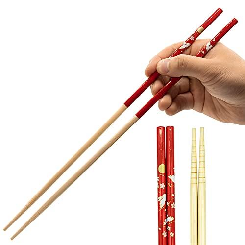 Cooking Chopsticks Long Japanese - Made in Japan | Bamboo Wood Saibashi Cooking Chopsticks - 13in - Red