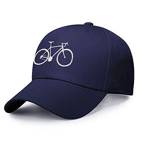 KGMO Gorra De Béisbol Bordada De Bicicleta para Viajeros Diarios, Gorra De Algodón para Papá, Gorra De Verano con Bordado Ajustable para Hombres, Azul Marino, Blanco