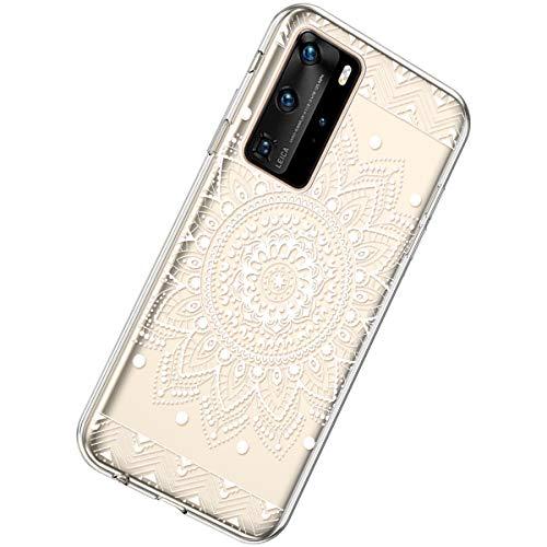 Herbests Kompatibel mit Huawei P40 Pro Hülle Silikon Weich TPU Handyhülle Durchsichtige Schutzhülle Niedlich Muster Transparent Ultradünn Kristall Klar Handyhülle,Weiße Mandala