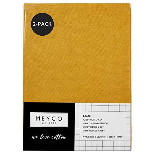 Meyco Jersey Spannbetttücher Spannbettlaken 70x140 / 150 cm (2er Pack, Ockergelb)