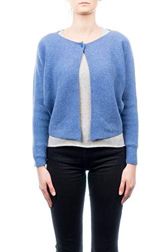 DALLE PIANE CASHMERE - Cardigan 100% Cashmere - Donna, Colore: Azzurro - Taglia: Unica