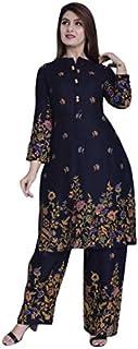 KAWDI FASHION Women's Rayon Printed Straight Kurta and Palazzo Set| Mandrain Collar Front Button Kurti with Palazzo Pant S...