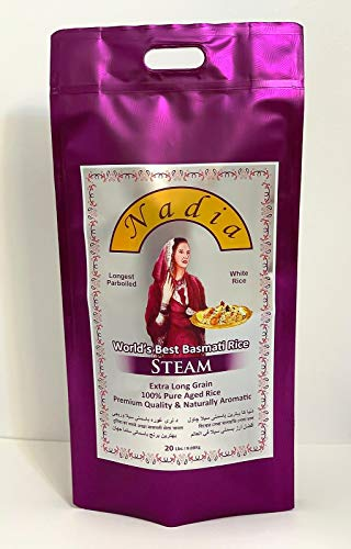 Nadia Basmati Steam White Rice Extra Long Grain (20 Lbs)