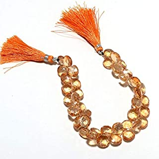 GemAbyss Beads Gemstone Coated Crystal Beads, Micro Faceted Heart Briolettes, Citrine Color 10mm Beads, 20 Pieces Approx, 4 Inch Strand Code-MVG-48072