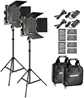 Neewer 2-Pack Bi-Color LED Video Light and Stand Kit with (4)Battery and (4)Charger-660 LED with U Bracket and...