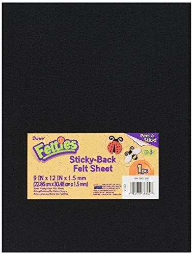 Darice, 9 by 12 inch, Adhesive Back Felties Felt Sheet, Black, 1 (9